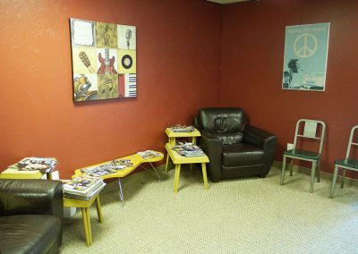 View of the parent waiting area at Anderson Music Studios.