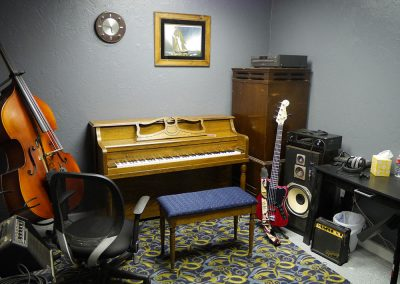 View of Piano/Bass lesson room at Anderson Music Studios.