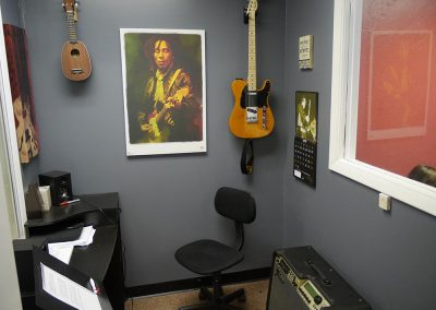 View of Guitar Lesson room #3 at Anderson Music Studios.